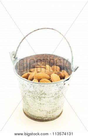 Almonds In Bucket Isolated On White Background