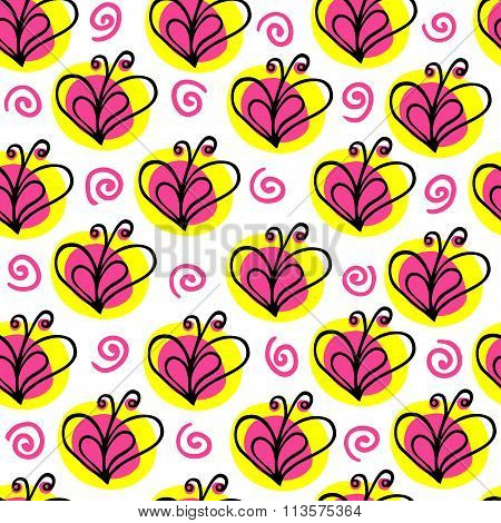 briht butterfly and heart vector seamless pattern