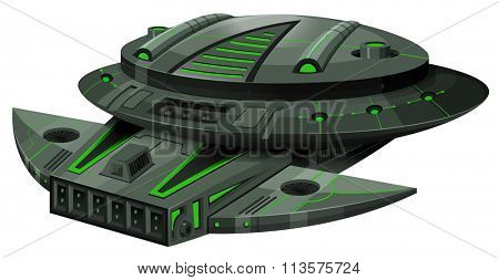 Spaceship with green and black colors illustration