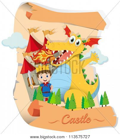 Prince and dragon in fairytale illustration