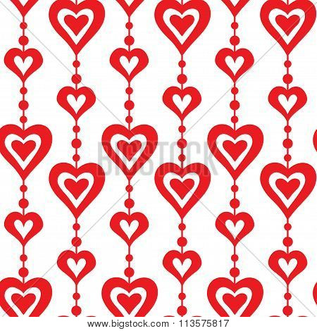 Red hearts and pearls vector seamless pattern