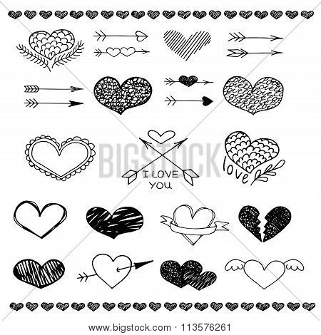Love heart and arrow vector sketch set