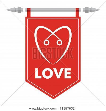 Love - Abstract Romance Icon With Hearth Sign On Flag.