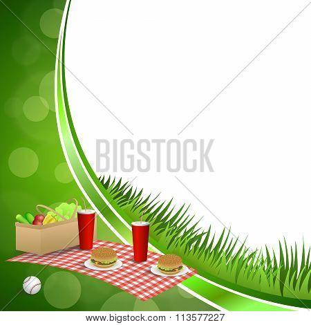 Background abstract green grass picnic basket hamburger drink vegetables baseball ball circle frame