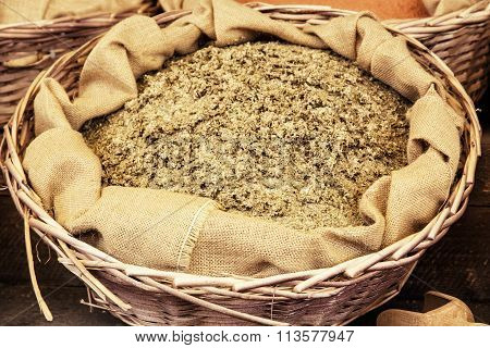 Dried Ground Fenugreek In The Wicker Basket