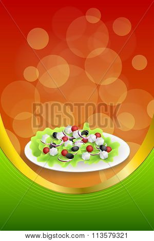 Background abstract food Greek salad tomato feta cheese green black olives onion red green yellow