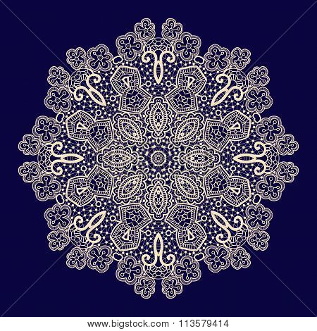 Vector vintage handmade knitted doily, lace pattern
