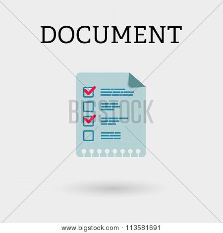 Document With Two Ticks. Flat Style.