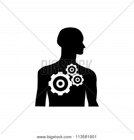 Gearwheel Mechanism In Silhouette Of Man