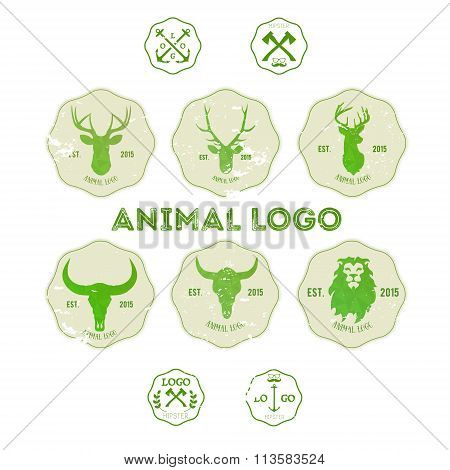 Hipster Retro Logotype With Head Of Deer, Lion And Buffalo