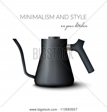 Realistic Teapot Or Kettle For Tea And Coffee In Black Color