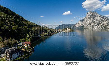 View Of The Alpine Lake In Traunkirchen With Traunstein Mountain, Austria, EuropeAerial View