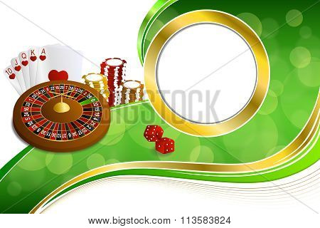 Background abstract green gold casino roulette cards chips craps frame gold illustration vector