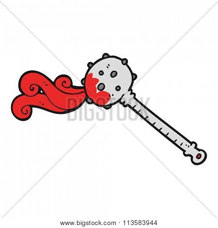 freehand drawn cartoon medieval mace