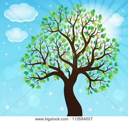 Silhouette of leafy tree theme 2 - eps10 vector illustration.