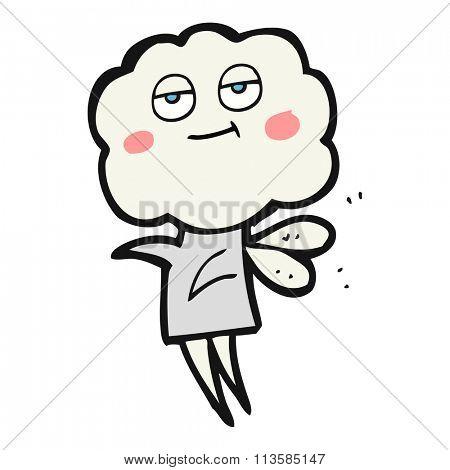 freehand drawn cartoon cute cloud head imp