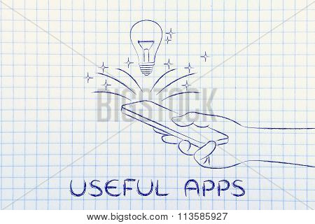 Lightbulb Coming Out Of Smartphone Screen, With Text Useful Apps