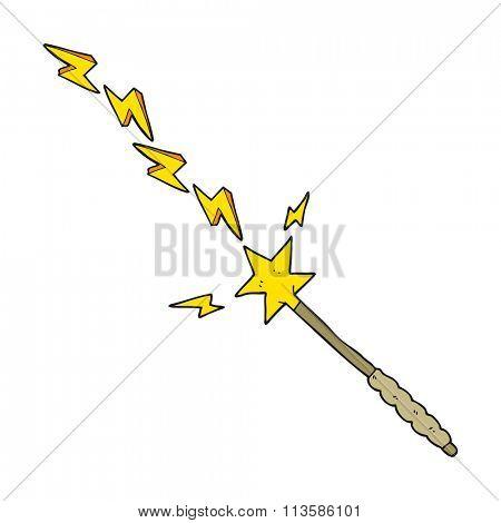 freehand drawn cartoon magic wand