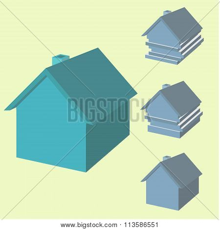 Infographics Of House In 3D. House With Displaced Layers.