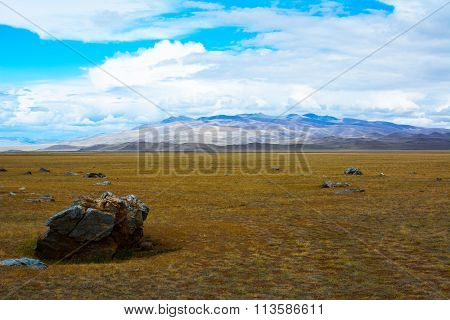 Steppe Landscape A Piece Of Rock In The Foreground