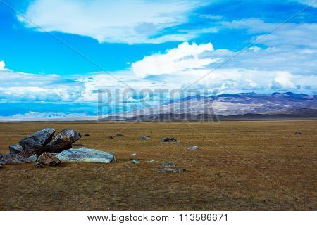 Steppe Landscape With A Piece Of Rock