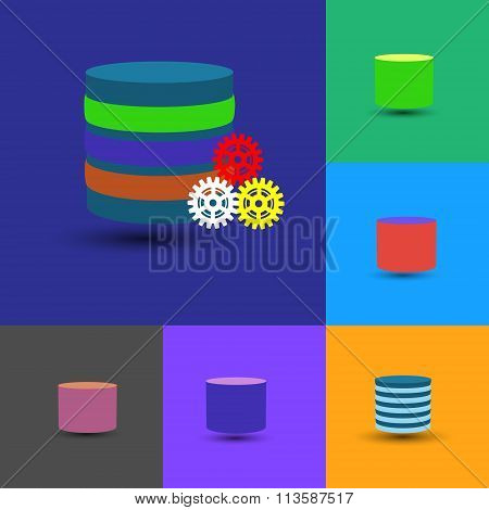 Database Icon Collection, This Also Represents Data Warehouse, Layered Database. Vector Flat Icon