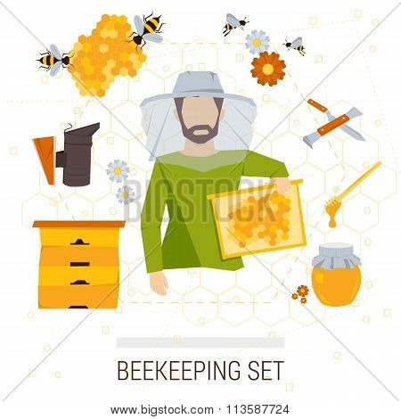 Vector icons set of beekeeping products.