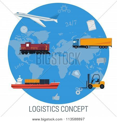 Vector concept of logistics global transportation