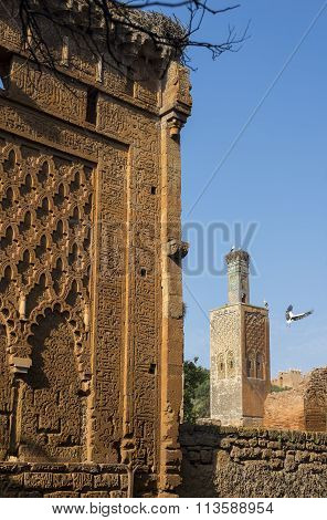 Mosque And Minaret Ruined Of Chellah Necropolis. Rabat. Morocco.