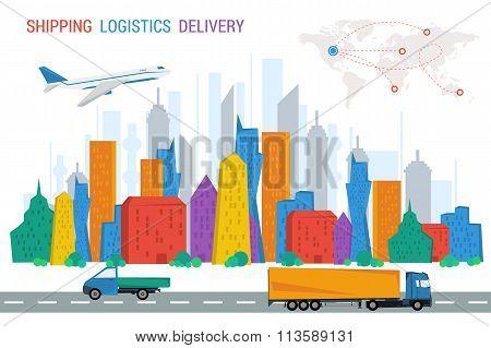 Logistics town road plane trucks world map