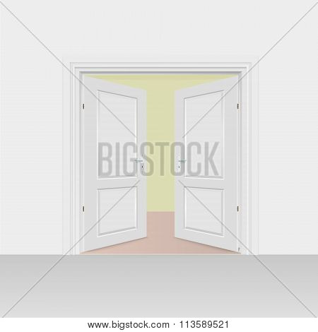 Opened Interior Doors Hinged Bivalve, Swings Door