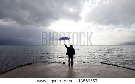 Unrecognizable man on a . Lake Ohrid Macedonia