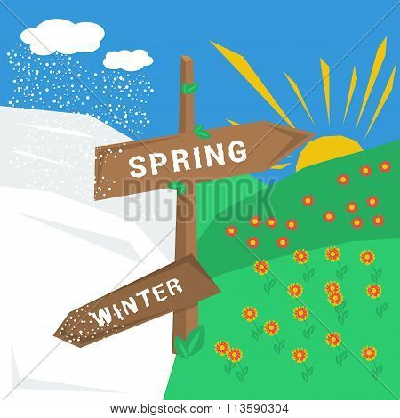 Sign spring winter with cold and warm weather