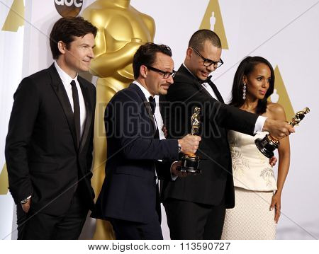 Mat Kirby, James Lucas, Jason Bateman and Kerry Washington at the 87th Annual Academy Awards - Press Room held at the Loews Hollywood Hotel in Los Angeles, USA on February 22, 2015.