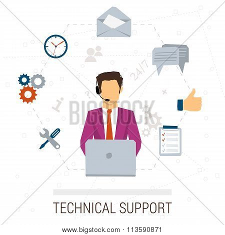 Technical support flat style. Woman and icons