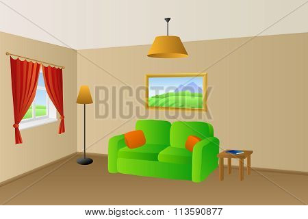 Living room beige green sofa orange pillows lamps window illustration vector