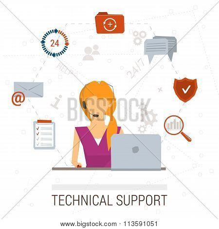 Technical support flat illustration. Man and icons