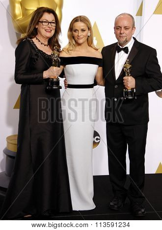 Frances Hannon, Mark Coulier and Reese Witherspoon at the 87th Annual Academy Awards - Press Room held at the Loews Hollywood Hotel in Los Angeles, USA on February 22, 2015.