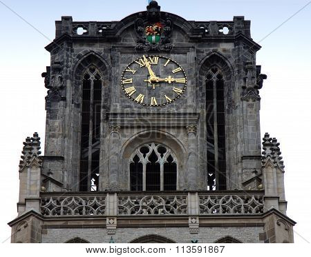 Church Of St Lawrence And Clock On Top In Rotterdam, Holland, Netherlands.