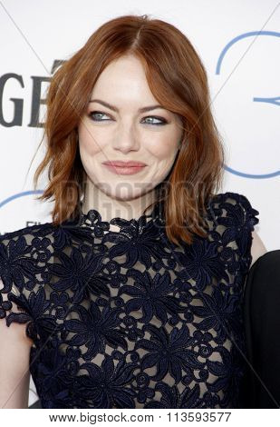 Emma Stone at the 2015 Film Independent Spirit Awards held at the Santa Monica Beach in Los Angeles, USA on February 21, 2015.