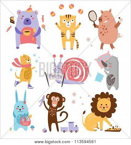 Colourful Childish Animals Vector Set