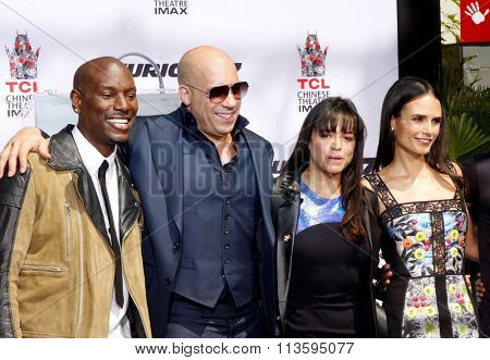 Tyrese Gibson, Michelle Rodriguez and Jordana Brewster at the Vin Diesel Immortalized With Hand And Footprint Ceremony held at the TCL Chinese Theater IMAX in Los Angeles, USA on April 1, 2015.