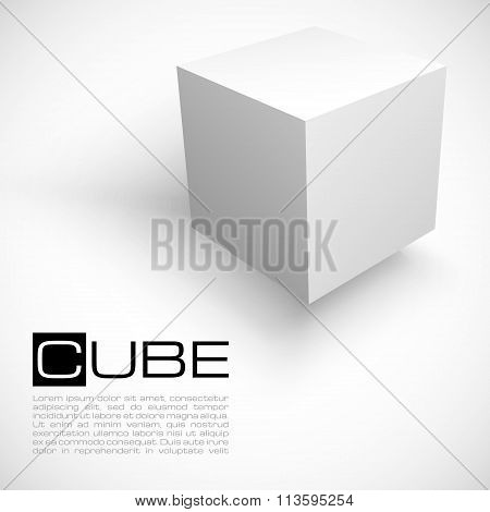 3D cube isolated on white background.