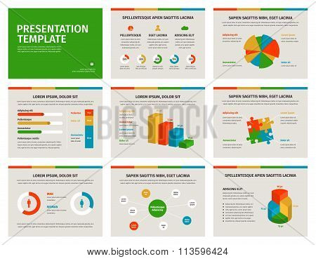 Presentation template. Infographic elements on slides.