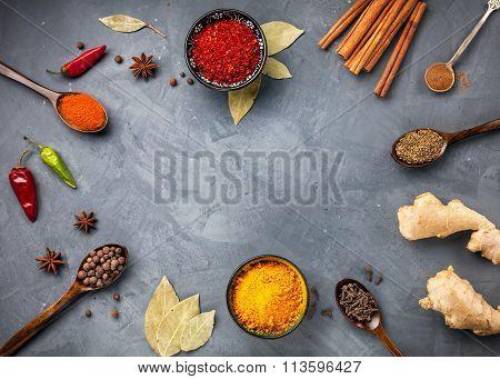 Spices On Grunge Grey Background