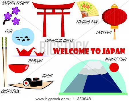 Welcome to Japan. Symbols of Japan. Set of icons. Vector.