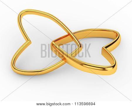 Two Gold Hearts Rings Isolated On White