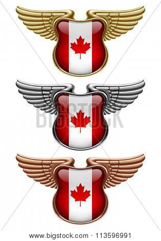 Gold, silver and bronze award signs with wings and Canada state flag. Vector illustration