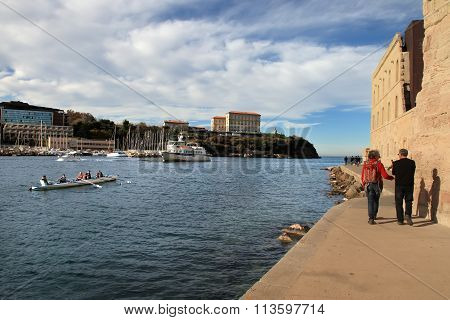 France, Marseille -october 19, 2015:  Part Of The Old Port In Marseille.  Marseille Is France's Larg