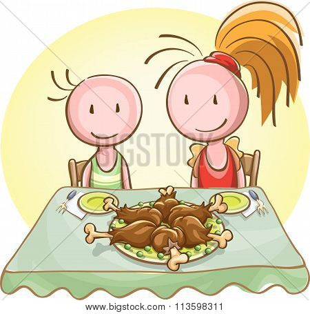 Two Children At The Banquet Table